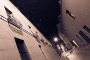 Downtown alley at night in the rain