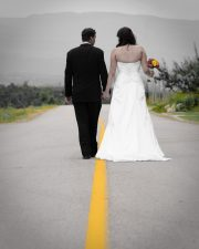 Wedding couple walking the line