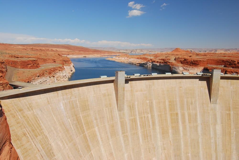 Glen Canyon Dam blocking the Colorado River entering the Grand Canyon
